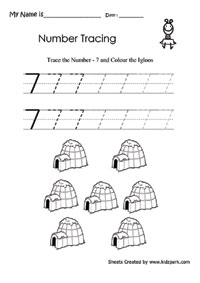 Igloos Coloring And Practice To Write Number 7 Worksheet,Play ...
