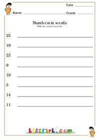 Number in Words Worksheets,Printable Math Worksheet,School Worksheets