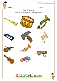 Worksheet Instrument Worksheets worksheet for kids to circle non musical instrumentearly teaching odd one out