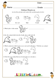 math worksheet : ordinal numbers  water animalsordinal number printableskids  : Ordinal Numbers Kindergarten Worksheets