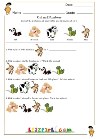 Animals ordinal number worksheets2nd grade math worksheets ordinal numbers worksheet ordinal number ibookread Download