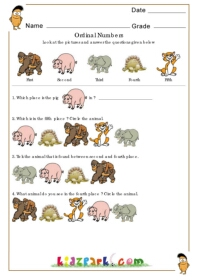 math worksheet : ordinal numbers  animalsdownloadable math worksheetsactivities  : Ordinal Numbers Kindergarten Worksheets