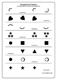 Grade 1 Shape Pattern Worksheet, Maths Downloadable Activity Sheets