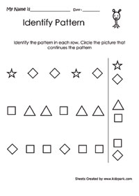math worksheet : repeating pattern worksheet for grade 3 sudoku teachers printables : Pattern Worksheet Kindergarten