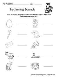 math worksheet : kindergarten beginning sound e worksheetkindergarten printable  : Printable Kindergarten Phonics Worksheets