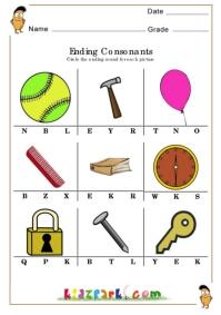 Ending Consonants Worksheets,Kids Activity Sheets,Final Consonant ...