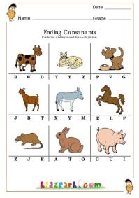math worksheet : ending consonants worksheetsplay school activity sheet  : Phonics Kindergarten Worksheets