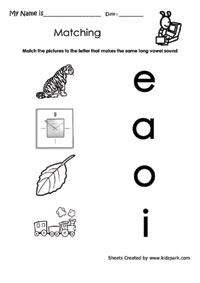 Grade 2 Long Vowels Sound Matching Worksheet,Activity Sheets for ...