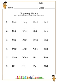 Worksheets Rhyming Words For Grade 1 Worksheets rhyming word worksheetprintable phonics worksheetsteaching class lkg ukg 1 2