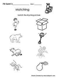 Rhyming Words Activity Sheet For Kids,Phonics Worksheets,English ...