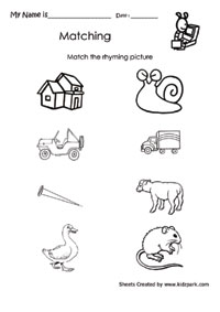 math worksheet : match rhyming figures activities sheetlesson plans worksheets  : Rhyming Worksheets For Kindergarten Free