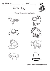 math worksheet : match the rhyming picture worksheetsrhyming lesson plans  : Rhyming Kindergarten Worksheets