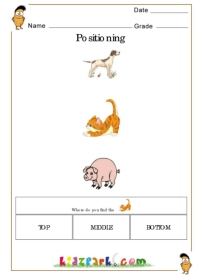 Activity Sheet For Kids Learning Top Middle And Bottom ...