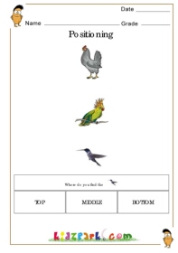 positional words worksheets for kindergarten