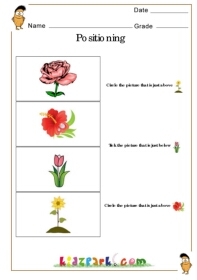 positioning_t3_4 Worksheet For Kindergarten on sight word now, my house, preschool math, my body, winter math, consonant blends,