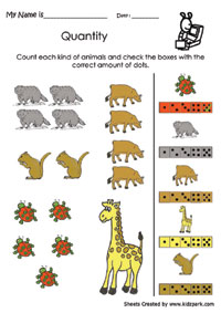 math worksheet : animals counting and matching data handling activity sheet  : Maths Data Handling Worksheets