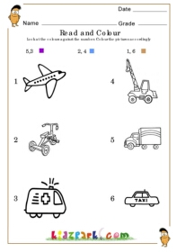 Kindergarten Vehicles Worksheet For Kids To See and Colour,School ...