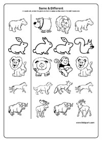 Toddlers Printables Worksheet Same And Different Kindergarten