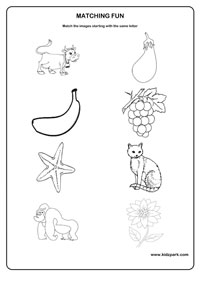 Class 1 Same Letter Matching Worksheet for Kids,Printable ...