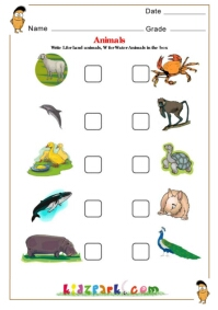 Land and Water Animals, Science Worksheet