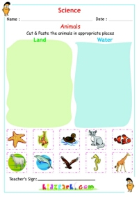 Land and Water Animals, Kindergarten Science Worksheet