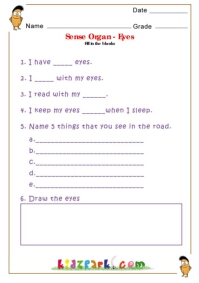 Human body parts worksheets for children sense organs eyes ccuart Gallery