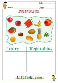 Fruits & Vegetables Science Worksheets for Kindergarten