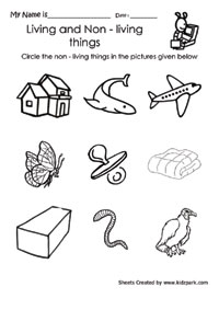 Living and non-living things worksheets for preschools