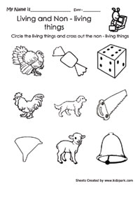 math worksheet : circle living and cross non living thing worksheetkindergarten  : Kindergarten Science Worksheets Free Printable