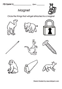 Worksheet To Circle The Thing That Magnet Attracks,Grade 2 ...
