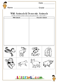 wild animals and domestic animals worksheets evs worksheets printable activity sheets. Black Bedroom Furniture Sets. Home Design Ideas
