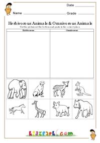 math worksheet : herbivorous animals and omnivorous animals worksheetscut and  : Cut And Paste Worksheets For Kindergarten