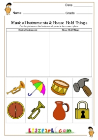 Environmental things Worksheets,First Grade Cut and Paste Worksheets