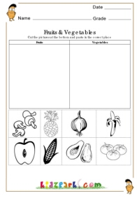 Fruits and Vegetables Worksheets,Cut and Paste Activities for ...