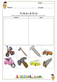 vehicles and tools worksheets kindergarten printable worksheets teachers resources. Black Bedroom Furniture Sets. Home Design Ideas