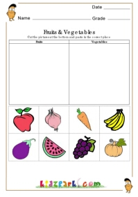 Fruits and Vegetables Worksheets,Educational Worksheets for Kids
