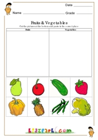 Fruits and Vegetables Worksheets,Cut and Paste Worksheets,Printable ...