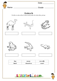 Animals Worksheets,Animals Cut and Paste Worksheets ...