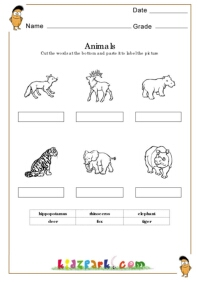 Animals Worksheets,K G Worksheets,Matching Worksheets for Toddlers