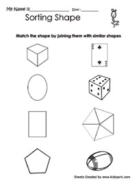 math worksheet : geometric shapes sorting worksheet for class 1math shapes  : Worksheets For Class 1 Maths