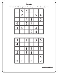 Sudoku Worksheets, Activity Sheets for kids, Puzzle Worksheets