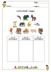 Printables Classification Worksheet tamil classification names of animals birds vegetables fruits classify the pictures