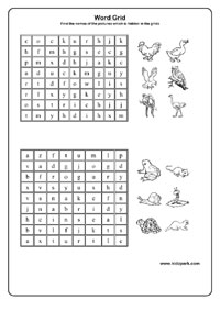 Learning Birds Names Using Word Grid,Make Your Own Worksheets